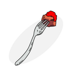 food on fork vector image