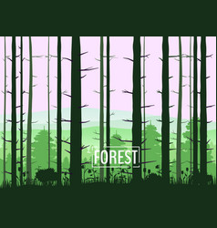 Forest silhouettes trees pine fir nature vector