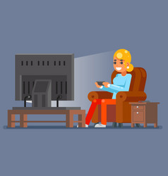 gamer young girl watching tv playing game sit vector image