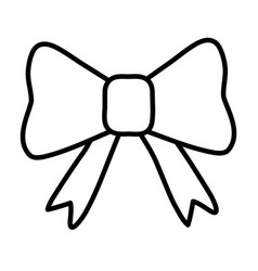 Gift bow icon cartoon black and white vector