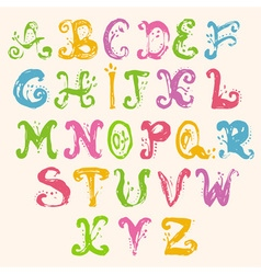 Hand drawn foliage alphabet vector image
