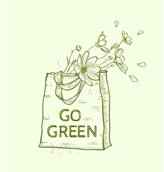 Hand drawn reusable shopping eco bag vector