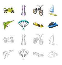 Hang glider parachute racing car water scooter vector