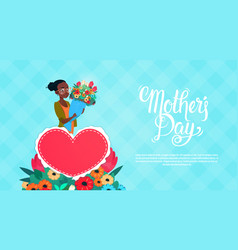 happy mother day woman hold flowers bouquet vector image