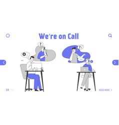 Hotline service website landing page call center vector