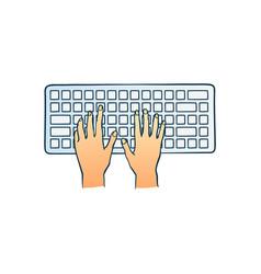 human hands typing on computer keyboard pushing vector image