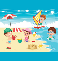 ilustration of kids playing at beach and se vector image