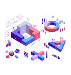 isometric infographic elements with geometric vector image
