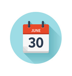 June 30 flat daily calendar icon date and vector