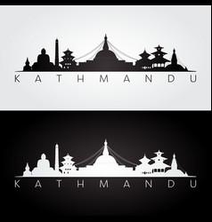 kathmandu skyline and landmarks silhouette vector image