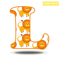 l letter with cartoon style lion pattern vector image