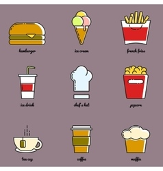 Line art food and drink icon set vector image