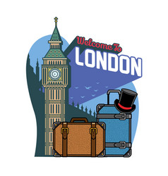 lodon traveling design with travel luggages vector image