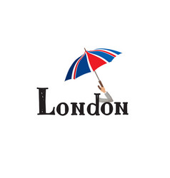 london sign hand lettering british jack flag vector image