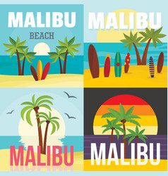 malibu beach surf banner concept set flat style vector image
