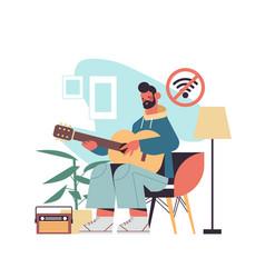 Man playing guitar digital detox offline vector