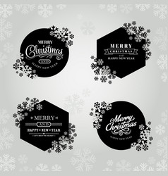 merry christmas and happy new year frame vector image