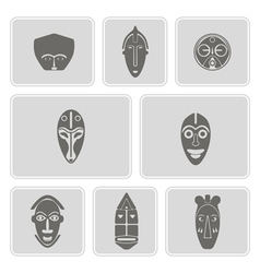 Monochrome icon set with african ritual masks vector