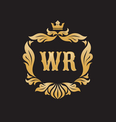 monogram wr letters - concept logo template design vector image