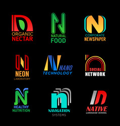 n letter font icons corporate business identity vector image