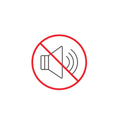 No noise line icon no sound red prohibited sign vector