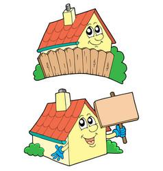 Pair cute houses vector