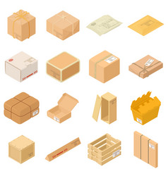 parcel packaging box icons set isometric style vector image