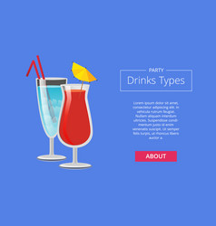 Party drink types web advertising poster alcohol vector