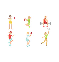 people doing different kinds sports set vector image