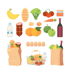 product bags shopping carts with different vector image