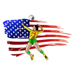 professional volleyball players in action on the vector image