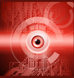 red background with eye and circuit vector image