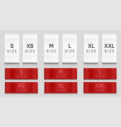 red cloth labels with size for apparel brand tags vector image