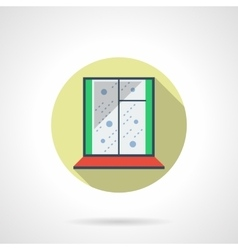 Round flat color winter window icon vector image