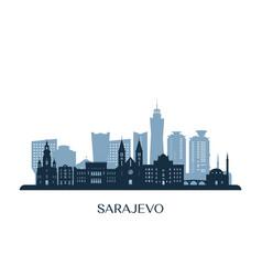 Sarajevo skyline monochrome silhouette vector