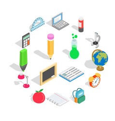 school icons set isometric 3d style vector image