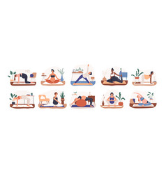 set diverse pregnant woman practicing yoga vector image