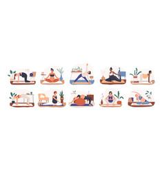 Set diverse pregnant woman practicing yoga vector