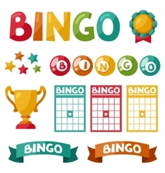 Set of bingo or lottery game balls and cards vector