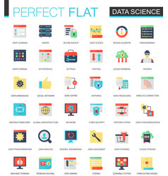 set of flat data science big data vector image