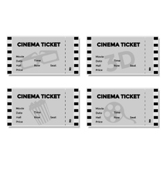 Set of Grey Cinema Ticket vector image