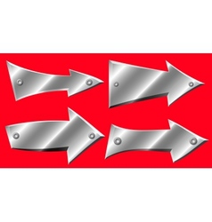 Set of metal arrows with rivets on red background vector image