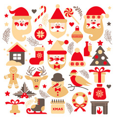 Set santa claus with gifts tree and christmas vector