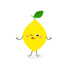 Sour cartoon lemon vector
