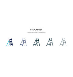 Stepladder icon in different style two colored vector