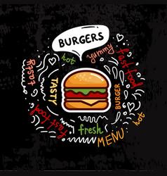 Tasty fast food burgers menu vector