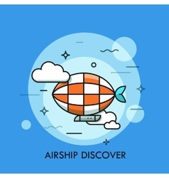 Thin line icon with flat design element of airship vector image