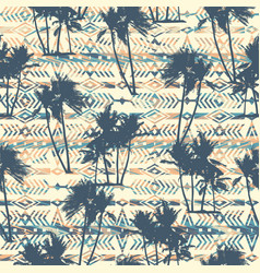 Tribal ethnic seamless pattern with palm tree vector