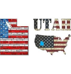 USA state of Utah on a brick wall vector image