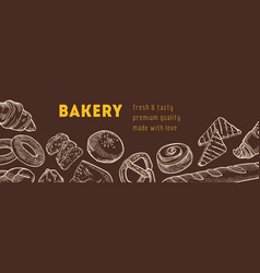 Web banner template with tasty breads and fresh vector
